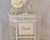 XL Ivory Wedding Birdcage Card Holder / Wedding Card Box / Wedding Card Holder / Fancy Birdcage / Wedding Decor / Bling Wedding