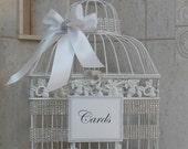 Large White Wedding Birdcage Card Holder / Wedding Card Box / White Wedding / Rhinestone / Wedding Decor