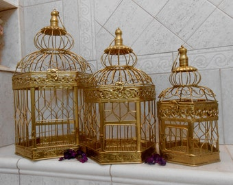 Set of 3 Wedding Birdcage Decoration / Wedding Card Holder / Wedding Card Box / Wedding Birdcages / Wedding Decor / DIY Wedding Decor