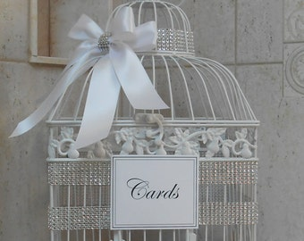large white wedding birdcage card holder wedding card box white wedding rhinestone
