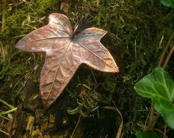 Real Ivy Leaf & Burnt Patina Copper Necklace
