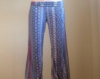 Lavender Boho Yoga Flare Hippie Tapestry Print Pants