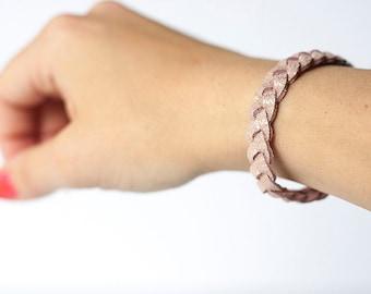 Braided Leather Bracelet / Powder Pink