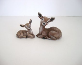 Deer and fawn, ceramic deer and fawn