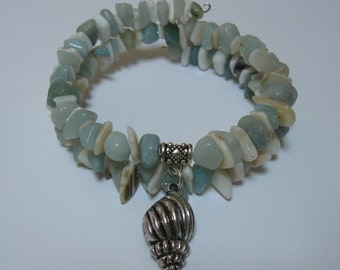 Amazonite and Sea Shells Bead Chip Sea Shell Charm Bracelet on Memory Wire