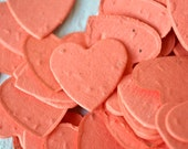 SALE - Coral Heart Wildflower Seed Paper Confetti, Wedding Favor