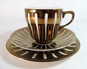 SALE! Art Deco Trio, Grays Pottery China Hand-decorated Bronze Copper Lustre Teaplate & Saucer Set, 1950s