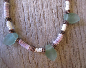 shell and glass leaves anklet, pretty beach anklet, grey, white heishi shell anklet, matte sea glass leaves