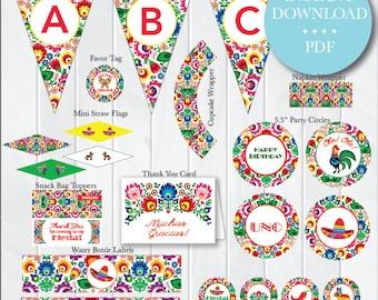 INSTANT DOWNLOAD Printable Mexican Fiesta Birthday Package, Mexican Theme Party, Fiesta Party, Fiesta Birthday Decorations, Fiesta Supplies