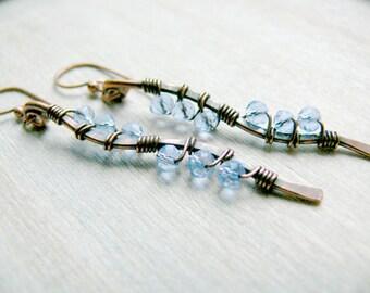Copper Earrings, Blue Drop Earrings, Wire Wrapped Earrings, Long Dangle Earrings,  Boho Earrings, Copper Wire Earrings, Long Earrings