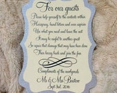 5x7 Ornate Bathroom Basket Sign available in many Custom Wedding Colors