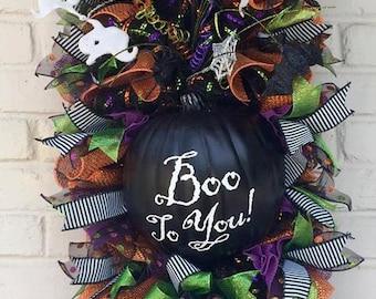 Halloween Boo to You Door/Wall Pumpkin Swag Wreath, Halloween Swag, Halloween Wreath, Boo To You Swag!