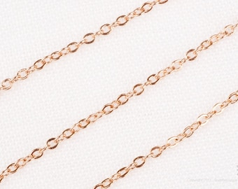 C100-GRG// Glossy Rose Gold Plated Small Cable Chain, 3M