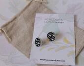 Cute as a Button - Round black & white arrow pattern wood stud earrings