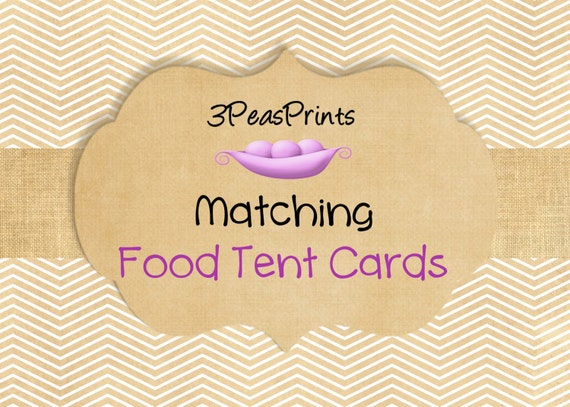Food Labels Made to Match any Invitation Printable Custom
