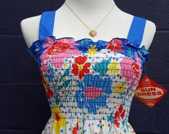 Vintage 1980's NOS Mid Length Floral Summer Sundress, Size S