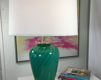 Table Lamp - Vintage Blue Glass & Chrome