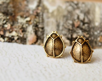 Beetle Earrings in Antiqued Gold, Ladybug Studs, Insect Jewelry, Spring Accessory, Gardener Gift, Nature Inspired, Rustic, Earthy