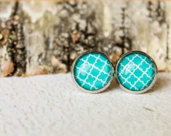 Moroccan Pattern Glass Cab Earring Studs, Available in Several Colors