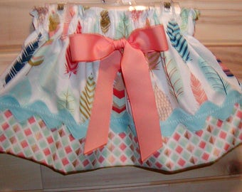 Teal N Coral Feathers..Girls Skirt, Twirl skirt. Available in 0-12 months, 1/2, 3/4, 5/6, 7/8, 9/10 Bigger Sizes Available