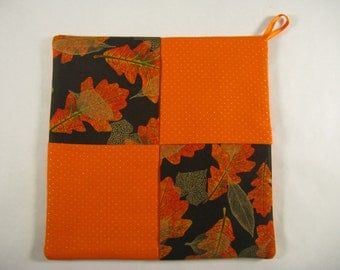 Pot Holder, Orange and Brown, Potholder, Hot Pad, Table Cover, Autumn and Fall Leaves Table Decoration