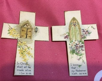 2 Vintage Bible Bookmarks Crosses with Scripture