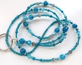 AQUAMARINE SPRING- Beaded ID Lanyard- Sparkling Crystals, Tibetan Silver Flowers. and Resin Beads (Comfort Created)