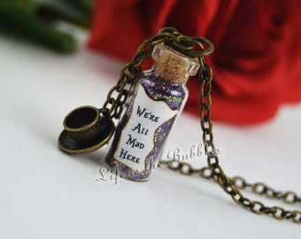 We're All Mad Here Magical Bottle Necklace Teacup Charm, Alice in Wonderland, Disney Jewelry, Once Upon a Time Jewelry, Alice Cosplay