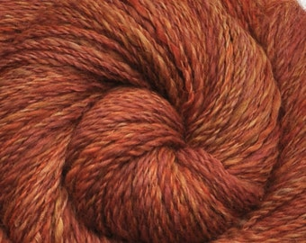 Handspun yarn - Hand dyed Alpaca / Merino wool, Fine Sport weight - 335 yards - Burnt Sugar