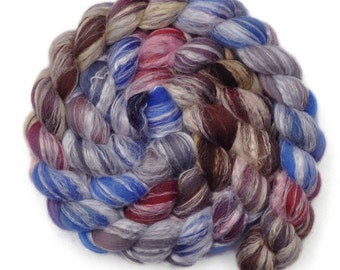 Hand painted roving - Bamboo / Merino wool spinning fiber - 4.0 ounces - Spinning Sky