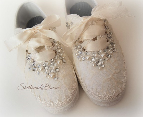 wedding tennis shoes wedding bridal tennis shoes sneakers flats chic ivory or 1194