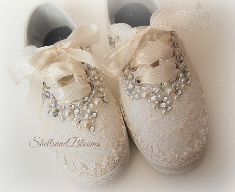 wedding bridal tennis shoes sneakers flats chic ivory or