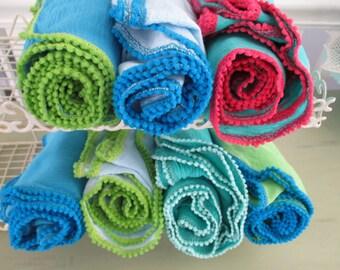 Swaddle Cotton Muslin Blanket Pom Pom Trim Infant Extra Large Handmade Lightweight Gauze  Pink, Mint, Lime, Turquoise .Aqua,blue