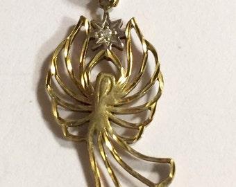 Vintage Gold Washed Sterling Silver Angel Pendant