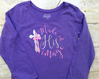 Made in His Image purple girls long sleeve shirt
