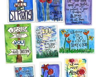 Hope and Encouragement Variety Pack  Memory Cards Gift Tags Wallet Size Illustrated Watercolor Prints
