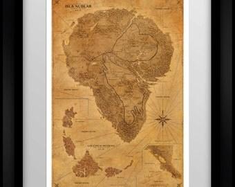 Jurassic Park Map - Sepia - Poster
