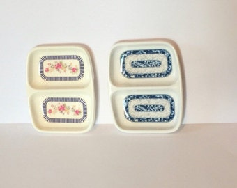 Sushi Dip Dishes H Tai-Hong Melamine Ware  Blue White and Gray Blue and Red Roses