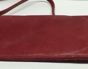 Vintage Red Leather Continental Wallet with strap 9 x 5
