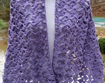 Crochet Stole, Lacy  Shawl, Wrap - Lilac - Shells