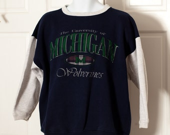 Vintage 80s 90s University of Michigan Wolverines Sweatshirt - Paris Sport Club - L