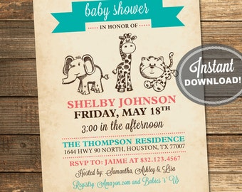 Safari Baby Shower Invitation, Jungle, Animals, Teal, Aqua, Coral, Elephant, Giraffe, Tiger, Printable File (INSTANT DOWNLOAD) #IDS1038