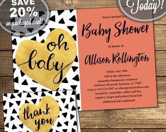 Baby Shower Package, Invitation, Thank You Card, Triangles, Aztec, Tribal, Black and White, Coral, Printable File (INSTANT Download)