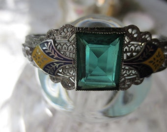 GREEN Setting Deco Filigree Chrome BANGLE BRACELET