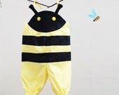 Baby girls summer bumble bee costume romper all in one in yellow and black
