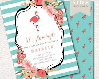 Flamingo Baby Shower Invitation, Flamingo Party Invitation, Flamingo Baby Shower Invite, Flamingo Theme // PRINTED or PRINTABLE INVITATION