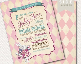 Alice in Wonderland Invitation / Bridal Shower / Mad Hatter Tea Party - Printable Invitation - Pink