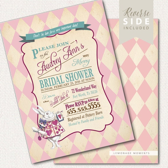 Alice in Wonderland Invitation Bridal Shower Mad Hatter Tea