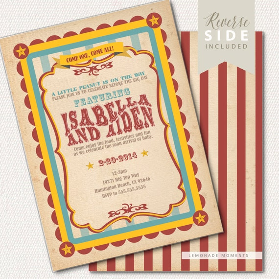 Circus Baby Shower Invitation, Carnival Invitation, Big Top  - Printable Baby Shower Invitation - Vintage Red