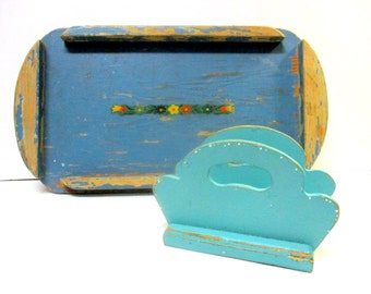 Vintage Handmade Wooden Tray and napkin holder